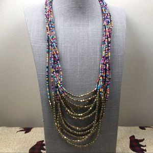 Jewelry - Rainbow pastel seed bead layered necklace